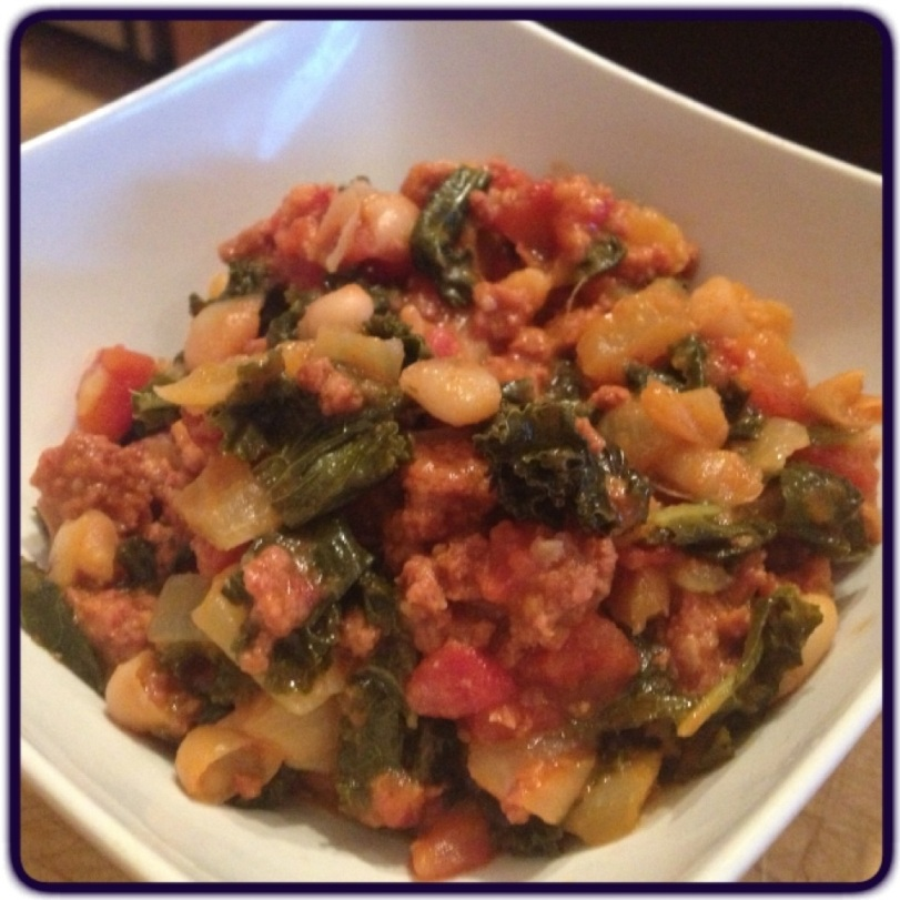 Cannelini Bean, Chorizo & Kale Chili